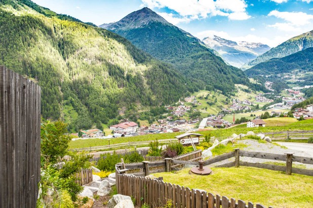 Summer holidays sölden view to village mountains sunny