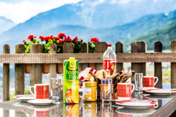 Summer Holidays Sölden terrace breakfast mountain view